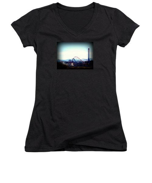 Roller Coasters At Twilight Women's V-Neck (Athletic Fit)