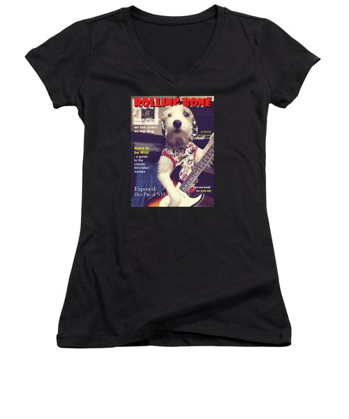 Rolling Bone Magazine Women's V-Neck T-Shirt (Junior Cut) by Richard Reeve