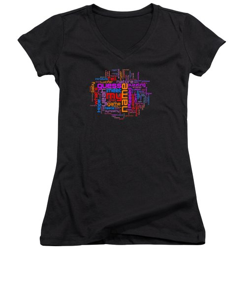 Women's V-Neck T-Shirt (Junior Cut) featuring the digital art Rolling Stones - Sympathy For The Devil Lyrical Cloud by Susan Maxwell Schmidt