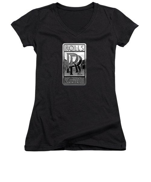 Rolls Royce - 3d Badge On Black Women's V-Neck T-Shirt (Junior Cut) by Serge Averbukh