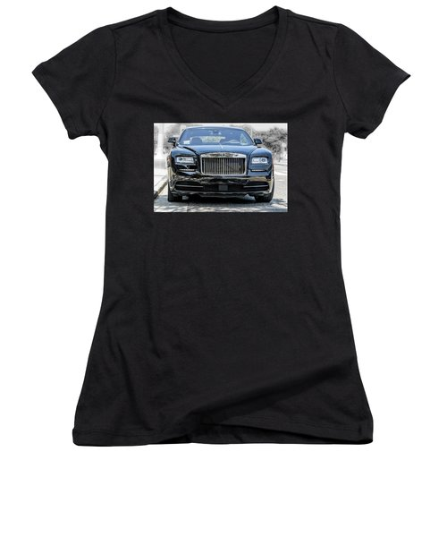 Rolls - Royce Wraith Coupe 2016 Women's V-Neck (Athletic Fit)