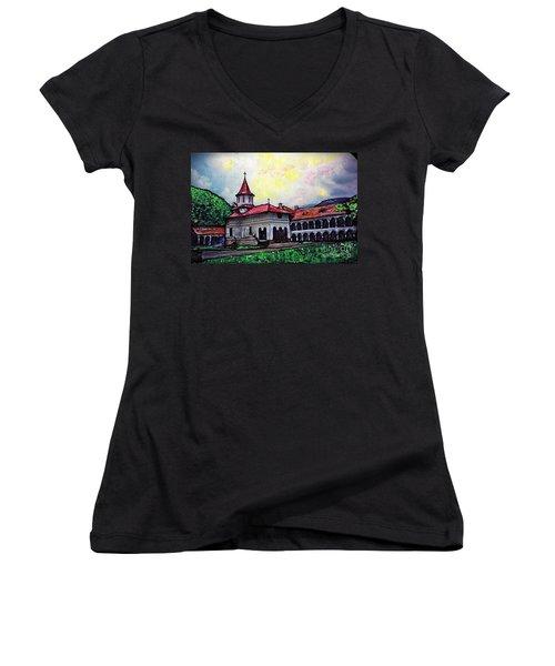 Romanian Monastery Women's V-Neck T-Shirt (Junior Cut) by Sarah Loft