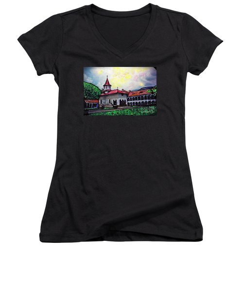 Romanian Monastery Women's V-Neck (Athletic Fit)