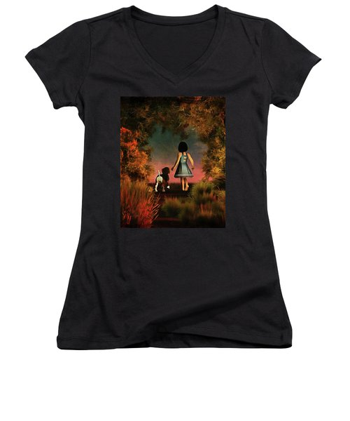 Romantic Walk In The Woods Women's V-Neck T-Shirt