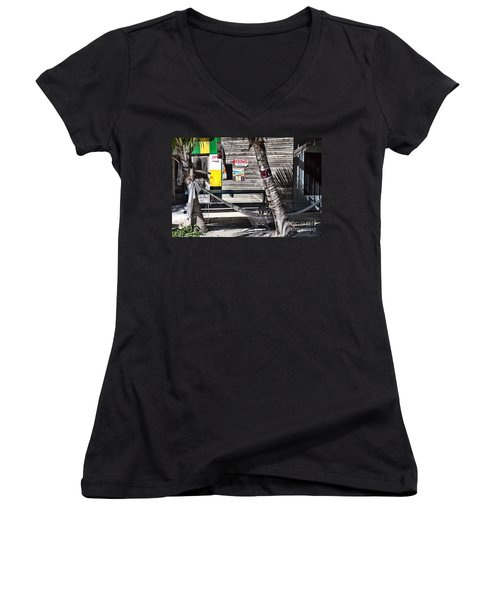 Women's V-Neck T-Shirt (Junior Cut) featuring the photograph Rooms Available by Lawrence Burry