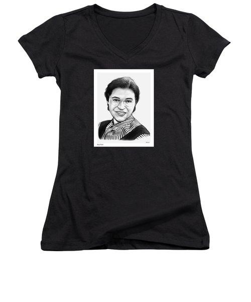 Rosa Parks Women's V-Neck T-Shirt (Junior Cut) by Greg Joens