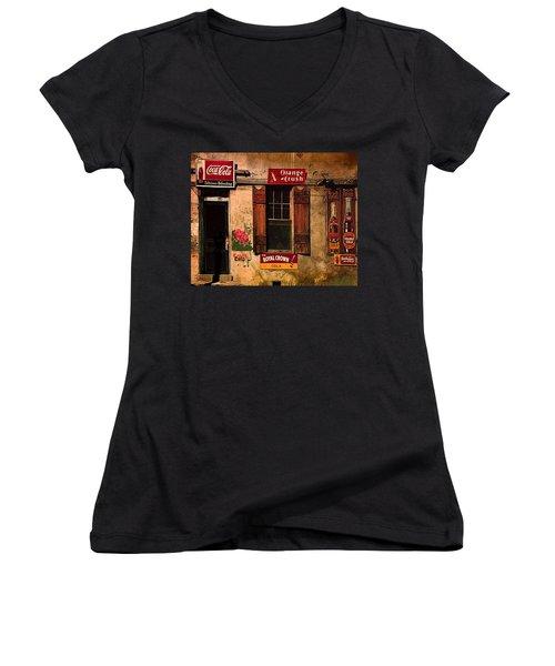 Rosas Cafe Women's V-Neck T-Shirt (Junior Cut) by J Griff Griffin