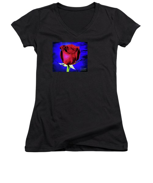Rose - Beauty And Love  Women's V-Neck T-Shirt (Junior Cut) by Ray Shrewsberry