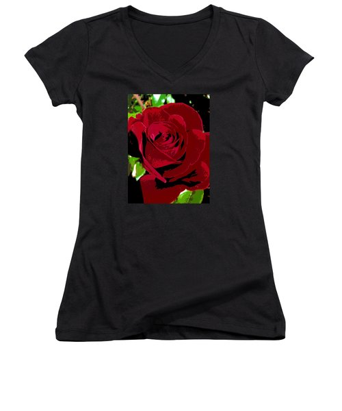 Women's V-Neck T-Shirt (Junior Cut) featuring the photograph Rose Bloom by Matthew Bamberg
