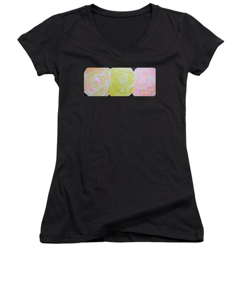 Rose Medley With Dewdrops Women's V-Neck (Athletic Fit)
