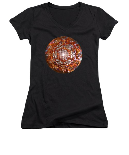 Women's V-Neck featuring the sculpture Rose Of Life Copper Lightmandala by Robert Thalmeier