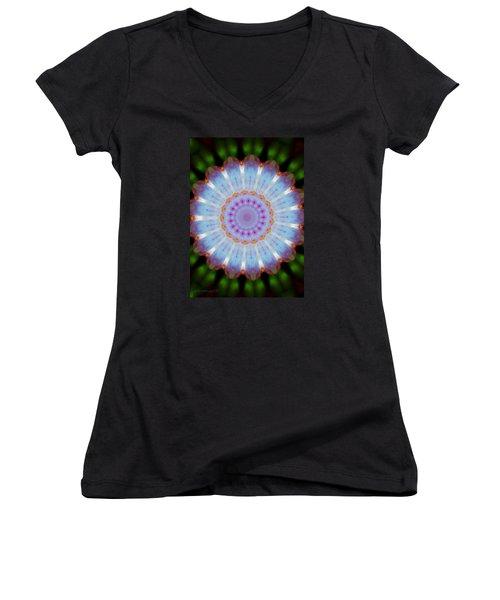 Rosepetals Mandala Women's V-Neck T-Shirt (Junior Cut) by Mimulux patricia no No