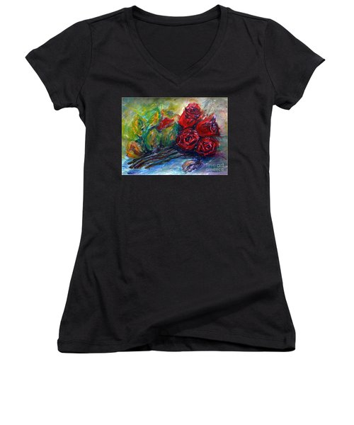 Women's V-Neck T-Shirt (Junior Cut) featuring the painting Roses by Jasna Dragun