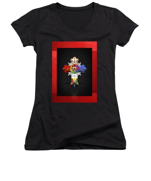 Rosy Cross - Rose Croix  Women's V-Neck