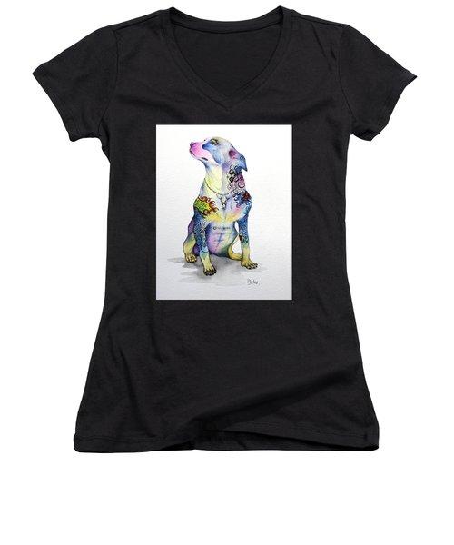 Rottweiler Rebel Women's V-Neck T-Shirt