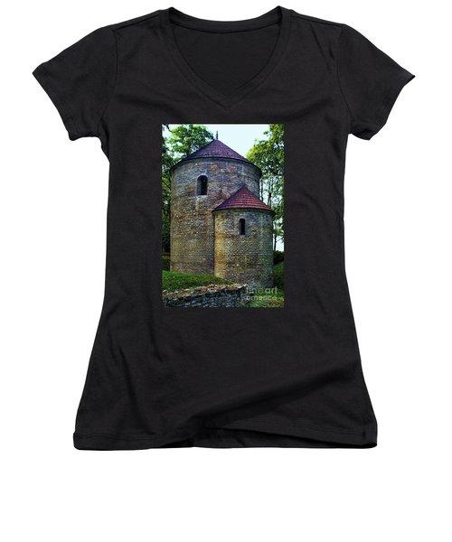 Women's V-Neck T-Shirt (Junior Cut) featuring the photograph Rotunda  by Mariola Bitner