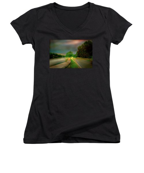 Women's V-Neck T-Shirt (Junior Cut) featuring the photograph Round The Bend by Diana Angstadt