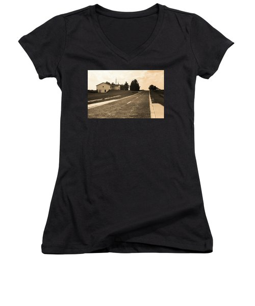 Women's V-Neck T-Shirt (Junior Cut) featuring the photograph Route 66 - Brick Highway Sepia by Frank Romeo