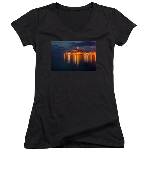 Women's V-Neck T-Shirt (Junior Cut) featuring the photograph Rovinj By Night by Davorin Mance