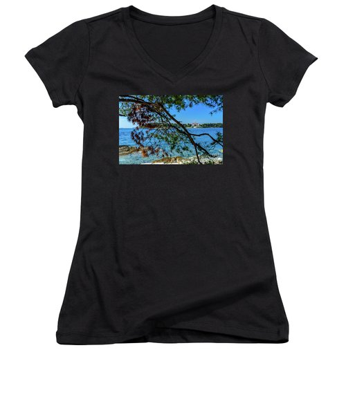Rovinj Old Town Accross The Adriatic Through The Trees Women's V-Neck (Athletic Fit)
