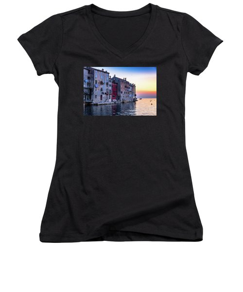 Rovinj Old Town On The Adriatic At Sunset Women's V-Neck