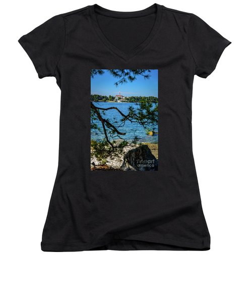Rovinj Seaside Through The Adriatic Trees, Istria, Croatia Women's V-Neck (Athletic Fit)