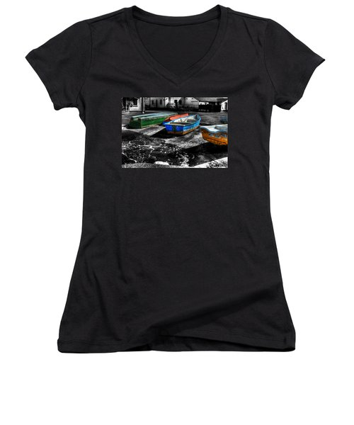 Row Boats At Mudeford Women's V-Neck T-Shirt