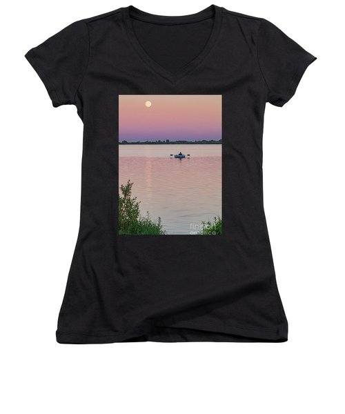Rowing To The Moon Women's V-Neck T-Shirt