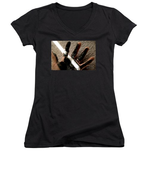 Women's V-Neck T-Shirt (Junior Cut) featuring the photograph Rubber Hand by Micah May