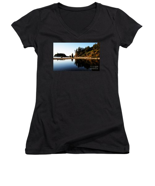 Ruby Beach Reflections Women's V-Neck (Athletic Fit)