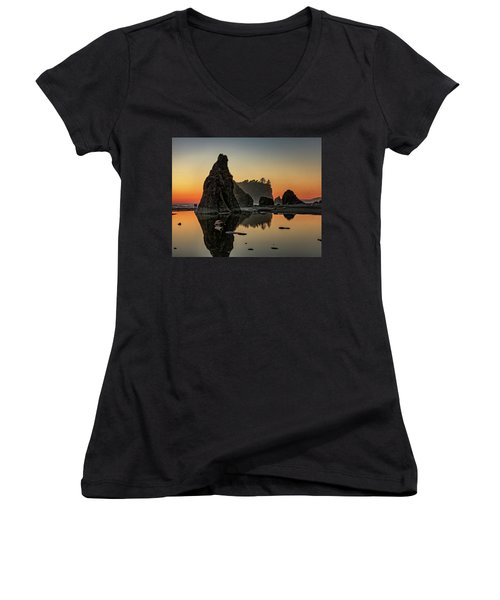 Ruby Beach At Sunset Women's V-Neck