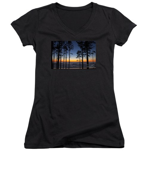 Ruby Beach Trees #4 Women's V-Neck (Athletic Fit)