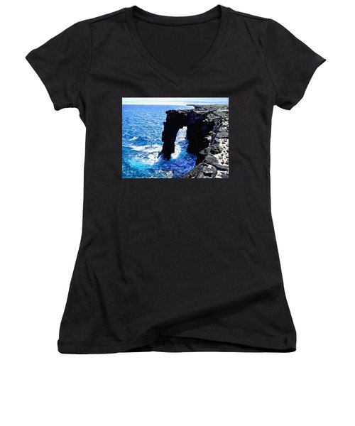 Women's V-Neck T-Shirt (Junior Cut) featuring the photograph Rugged Kona Sea Arch by Amy McDaniel