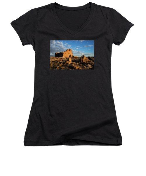 Ruins Of Yereruyk Temple Under Amazing Cloudscape, Armenia Women's V-Neck T-Shirt (Junior Cut) by Gurgen Bakhshetsyan