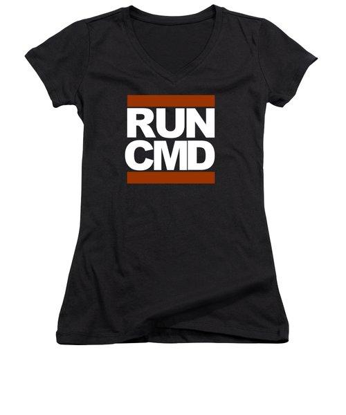 Run Cmd Women's V-Neck T-Shirt (Junior Cut) by Darryl Dalton