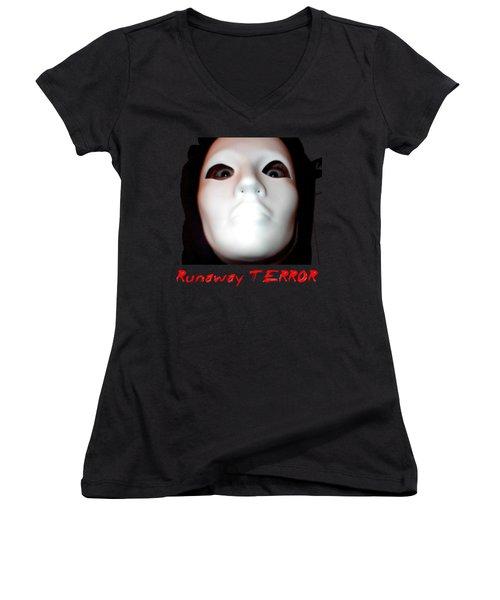 Runaway Terror 3 - Black Women's V-Neck T-Shirt (Junior Cut) by Mark Baranowski