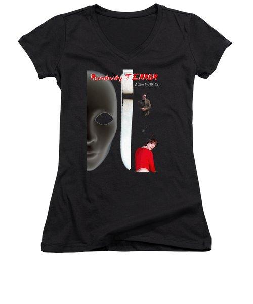 Runaway Terror 5 - Black Women's V-Neck T-Shirt (Junior Cut) by Mark Baranowski
