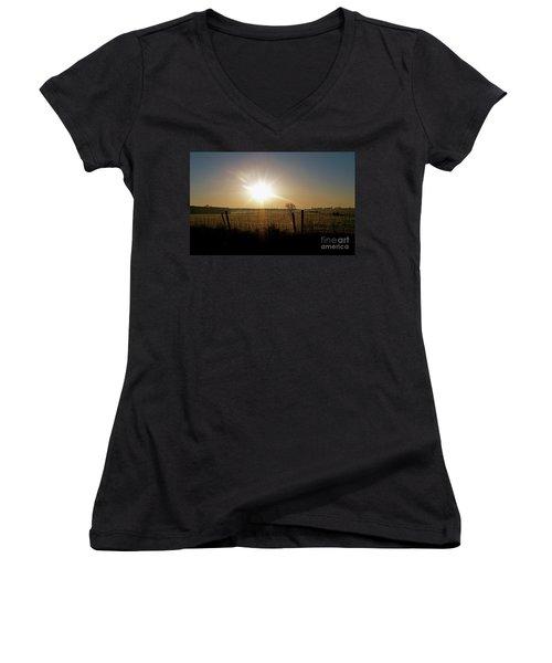 Rural Sunrise Women's V-Neck T-Shirt (Junior Cut) by Sue Stefanowicz