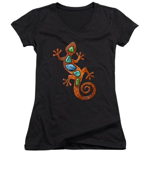 Rust Lizard Shirt Women's V-Neck