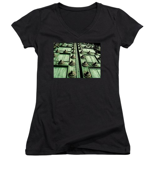 Rustic Church Door Women's V-Neck T-Shirt (Junior Cut) by Valerie Rosen