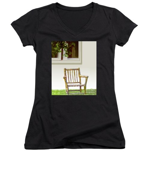 Rustic Wooden Rocking Chair Women's V-Neck