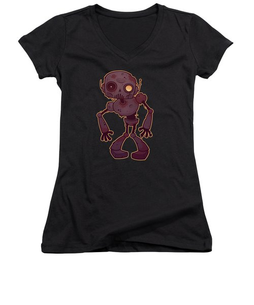 Rusty Zombie Robot Women's V-Neck (Athletic Fit)
