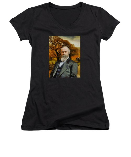 Women's V-Neck T-Shirt (Junior Cut) featuring the painting Rutherford B. Hayes by Kai Saarto