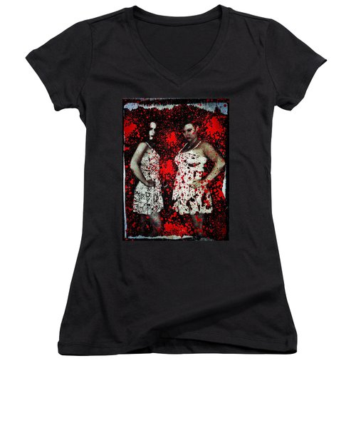 Ryli And Corinne 2 Women's V-Neck T-Shirt (Junior Cut) by Mark Baranowski