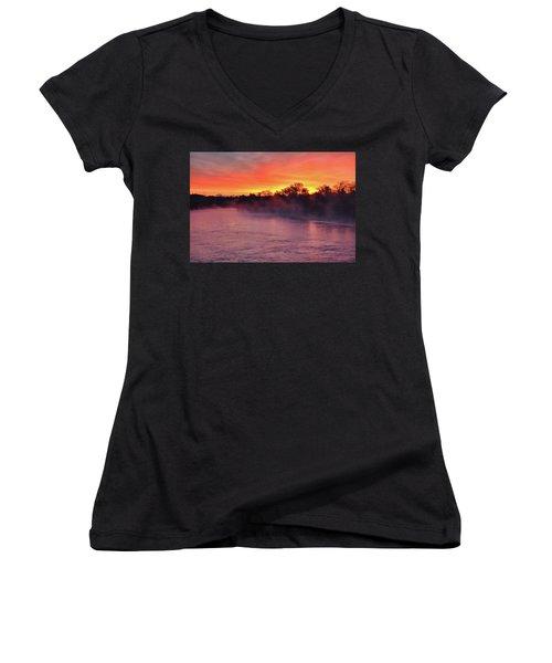 Sacramento River Sunrise Women's V-Neck