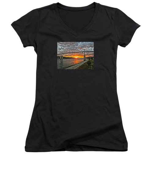 Sagamore Bridge Sunset Women's V-Neck T-Shirt (Junior Cut) by Constantine Gregory