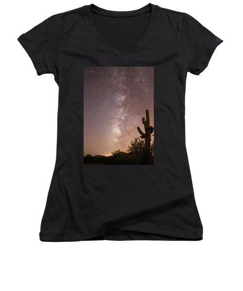Saguaro Cactus And Milky Way Women's V-Neck