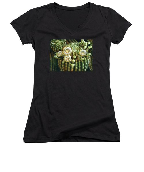 Saguaro Cactus Blossoms Women's V-Neck (Athletic Fit)