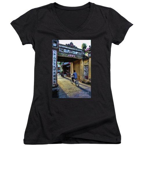 Saigon History  Women's V-Neck T-Shirt (Junior Cut) by Chuck Kuhn