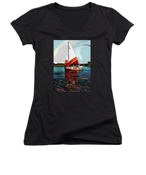Sail Along On The Sea Women's V-Neck T-Shirt (Junior Cut) by Vickie G Buccini
